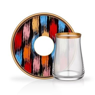 Glore Tarabya Asel 6'Lı Çay Seti Renkli